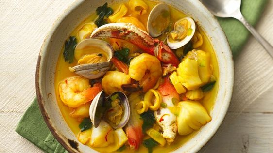 Five types of seafood come together in this hearty seafood stew, providing a wonderful addition to this delicious dish.