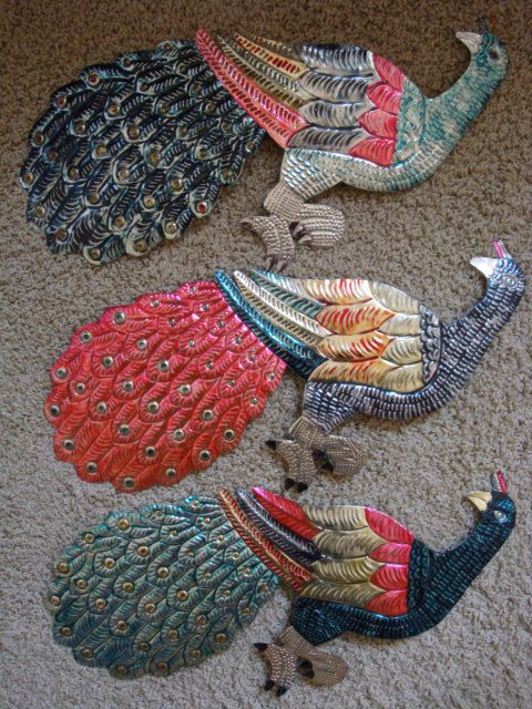 Colorful Mexican Tin  PEACOCK  Wall Hanging   3 by HouseOnRoseSt, $16.00