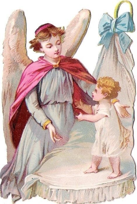Oblaten Glanzbild scrap die cut chromo Engel guardian angel Kind child baby: