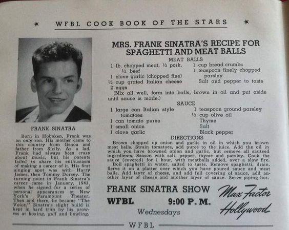 Mrs. Frank Sinatra Spaghetti and Meatballs