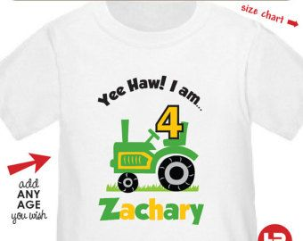 Personalized Tractor Birthday Shirt or Bodysuit -- Personalized John Deere Birthday Shirt