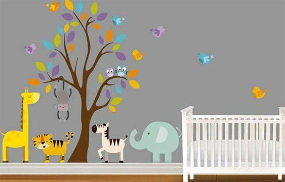 babyzimmer wandgestaltung 15 wanddeko ideen mit tieren lala pinterest home design home. Black Bedroom Furniture Sets. Home Design Ideas