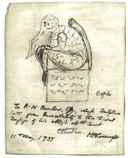 CDI Collège - Séances sur la rumeur et les images mensongères - Croquis du Cthulhu, par son créateur, H. P. Lovecraft.