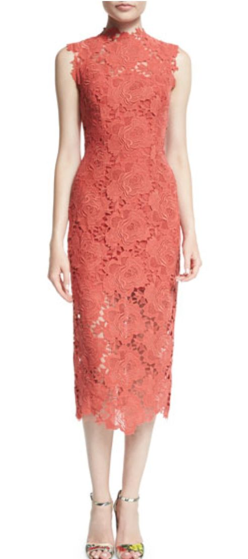 Mandarin-esque Collar Lace Pencil Sheath Dress in Coral