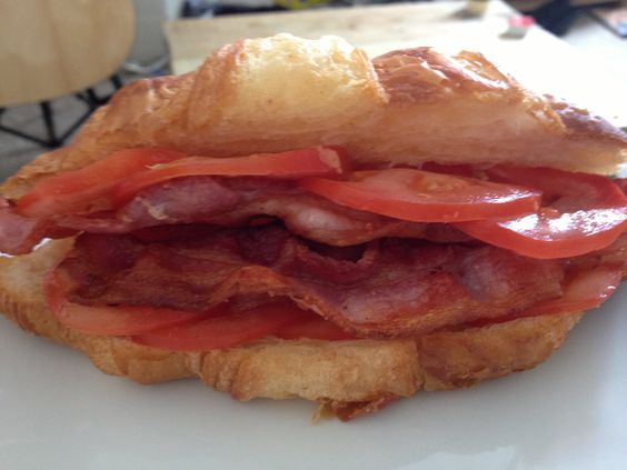 Bacon and Tomato Filled Croissant by Rab.