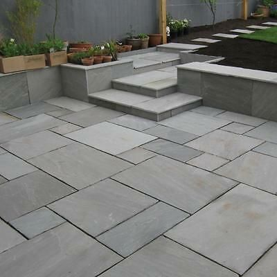 Details About We Are Open Indian Sandstone Patio Paving Slab Silver Grey 300x300 07597 In 2020 Patio Slabs Garden Tiles Patio Tiles