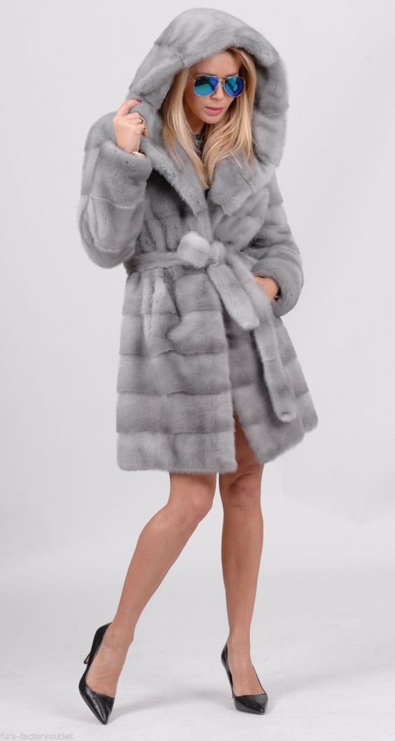 mink furs - royal saga mink fur coat with hood