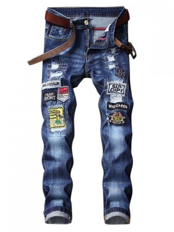 Bordado Letras Logo Patchworks Casual Jeans Azul De Arandanos 32 Jeans Para Hombre Jeans De Moda Pantalones Vaqueros Bordados