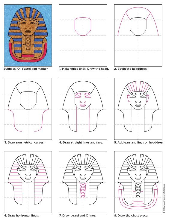 King Tut how to draw instructions. Colored in with oil pastels. Great for…
