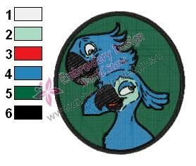 Rio Blu and Jewel Angry Birds Embroidery Design