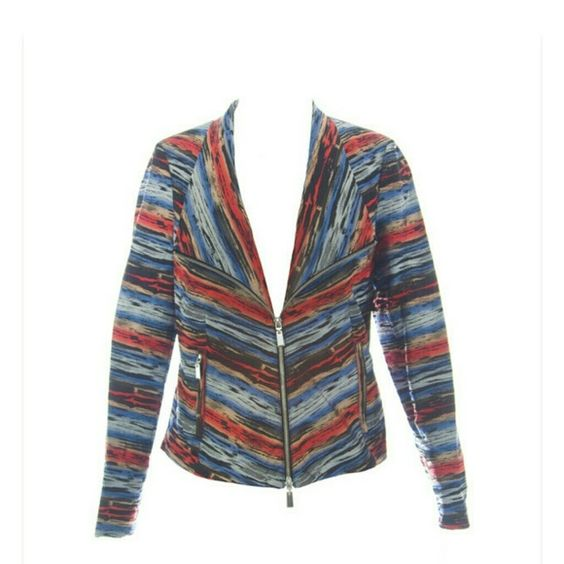 600 West Jacket Multi-colored zip front 2 pocket jacket. 100% Polyester. 600 West Jackets & Coats