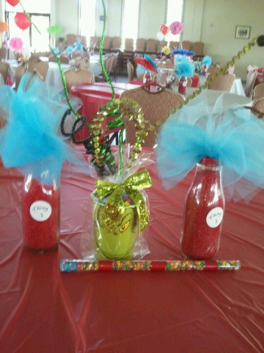 Grinch centerpiece dr suess i made pinterest