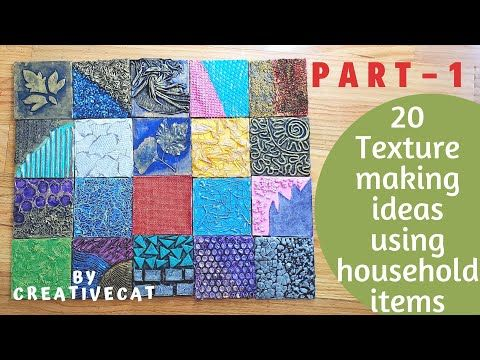 20 Texture Making Ideas Using Household Items Part 1 Mural Art Mixed Media Art Art And Craft Youtube Textured Paper Art Mural Art Texture Art