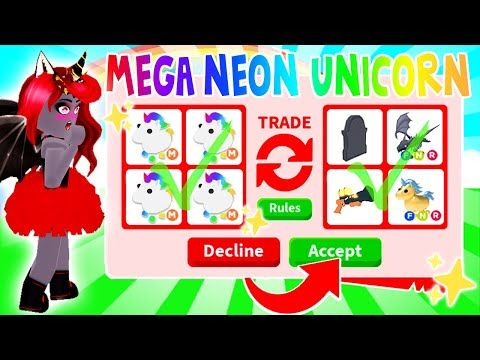 What People Are Willing To Trade For A Mega Neon Unicorn In Adopt Me Roblox Youtube Roblox Adoption Roblox Pictures