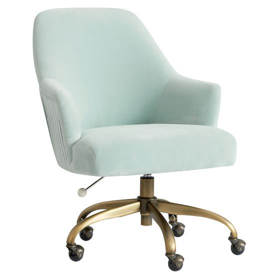 Performance Everyday Velvet Gray Pleated Swivel Desk Chair Swivel Chair Desk Desk Chair Upholstered Swivel Chairs