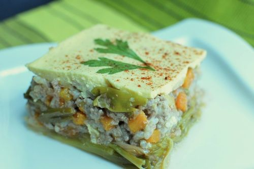 Moussaka with leeks and rice