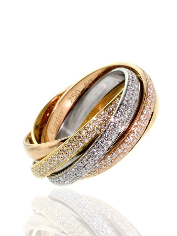Cartier Trinity Diamond Ring in Multitone Gold | From a unique collection of vintage band rings at https://www.1stdibs.com/jewelry/rings/band-rings/: