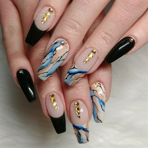 Nail Art From The Nails Magazine Nail Art Gallery Hand Painted Marble French Twist Coffin Nails S Gel Nails French Simple Nail Designs French Nail Designs