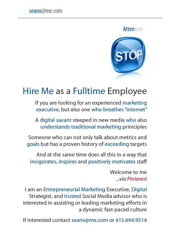 Sean X - Hire Me as a Fulltime Employee
