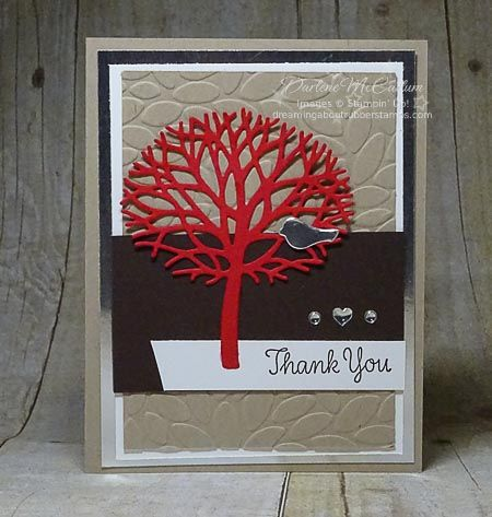 Thoughtful Branches Tree - www.dreamingaboutrubberstamps.com - this cards was made with Real Red, Crumb Cake, Early Espresso and silver accessories including the Enamel Shapes and Silver Foil Sheets