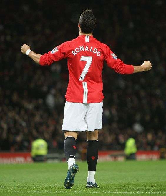 Cristiano Ronaldo looks to the heavens after firing home a sensational free-kick for @manutd against Portsmouth at Old Trafford.