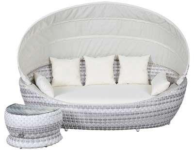 Paradiso Lounge von Domus Ventures - Geflecht: White Wash Duo 24 Frontal - mit Beistelltisch