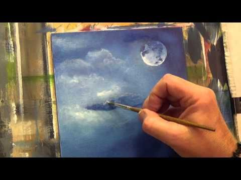 Beginners acrylic painting tutorial moon light bird part for Canvas painting tutorial for beginners