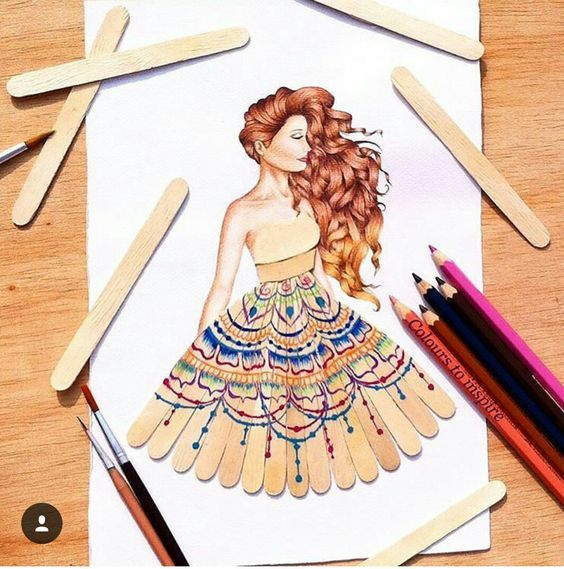 Popsicle Sticks Colored Pencils Or Puffy Paint Creative Drawing Fashion Design Drawings Illustration Fashion Design