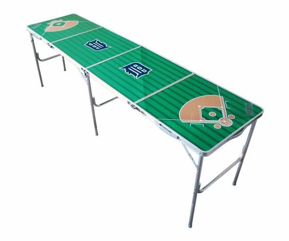 Detroit Tigers 8ft Ping/Water/Root Beer/Party Pong Tailgate Table Game