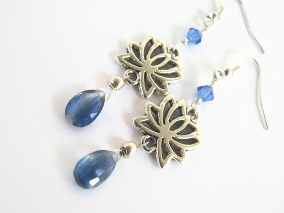 Kyanite Lotus Earrings Sapphire Swarovski by Abundantearthworks, $33.00