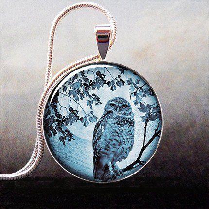Blue Moon Owl pendant, owl necklace charm, owl jewelery, owl jewellery, moon jewelry #Halloween #owl #jewelry www.loveitsomuch.com