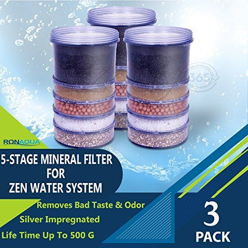 Aquaboon 4-Pack of 5-Stage  Mineral Filter Cartridge for Zen Countert