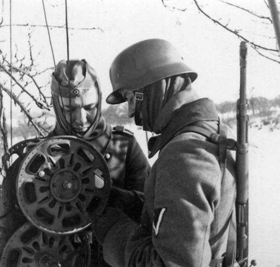German signalers establishing telephone communication
