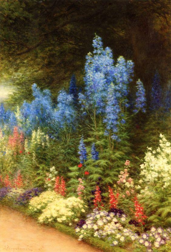 Joseph Farquharson (1846-1935) —  A Corner of My Garden at Finzean, c.1923-1926 (870×1280)