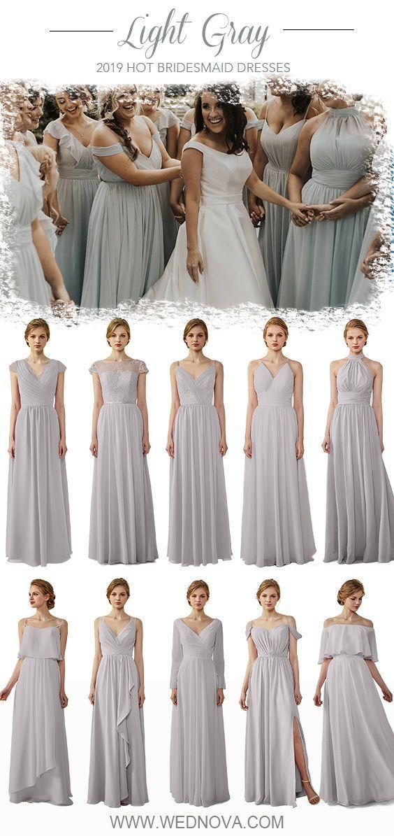 Light Gray Bridesmaid Dress Chiffon V Neck Dress Spaghetti Strap Dress On A Budget Elegant Bridesmaid Dresses Bridesmaid Dress Styles Maxi Bridesmaid Dresses