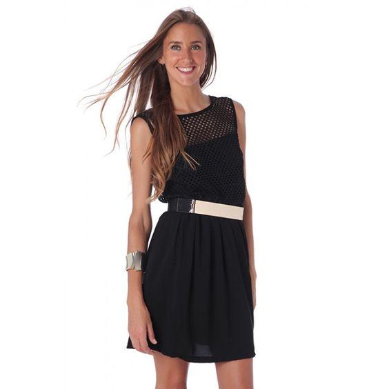 Black Crochet V Back Skater Dress