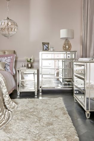 Mirrored bedroom side tables and matching drawers saturn interiors