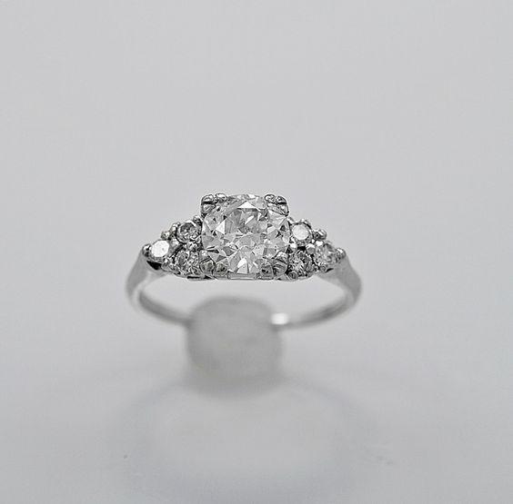 Antique Engagement Ring .95ct. Diamond & Platinum Art Deco - J35756 by GesnerEstateJewelry on Etsy https://www.etsy.com/listing/399498783/antique-engagement-ring-95ct-diamond