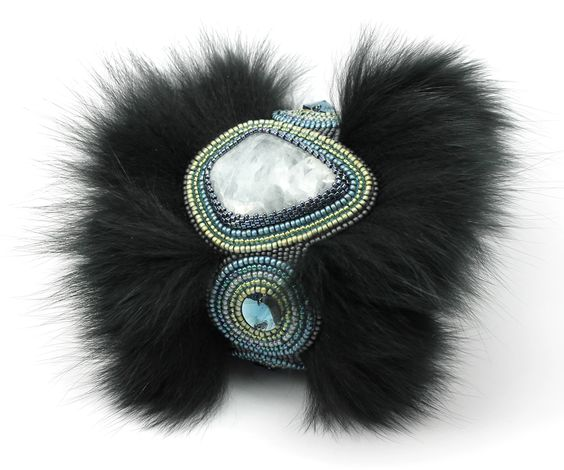 Natasha Shcherbakova, bracelet, Swarovski calcite crystals, Japanese seed beads (Toho and Miyuki), fur, leather, metal base