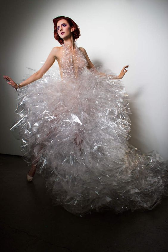 Flockflockflock by Jennifer Henry features clothing made from alternative materials, such as tape, paper and cellophane