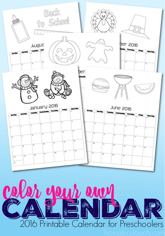 Blank Calendar Book : Printable calendar coloring book for preschoolers