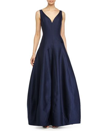 Sleeveless V-Neck Tulip Gown, Navy by Halston Heritage at Neiman Marcus.