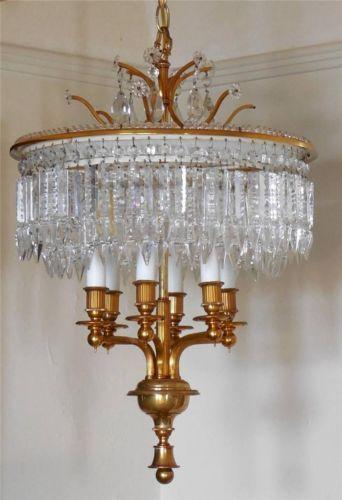 1950s-1960s-Brass-2-Tier-Wedding-Cake-Crystal-Chandelier-Light-Fixture-Vintage
