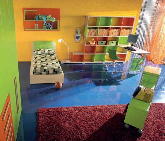 dormitorios juveniles con muchos colores vibrantes