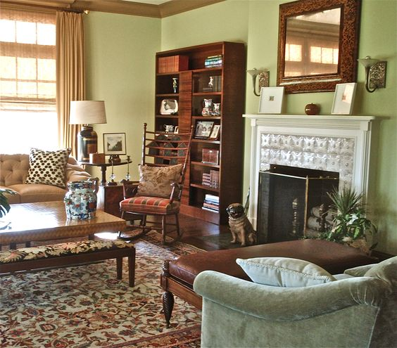 Deco regency and arts and crafts mix together in this for Arts and crafts living room ideas