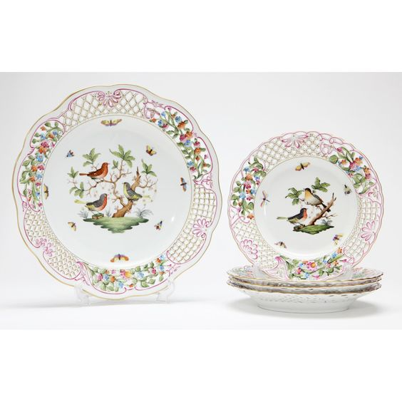 Herend Reticulated Five Piece Luncheon Set