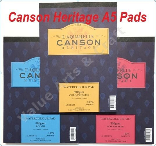 Details About Canson Heritage Watercolour Paper A5 Pad 300gms
