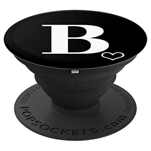 White Initial Letter B Love Heart Outline Monogram On Black