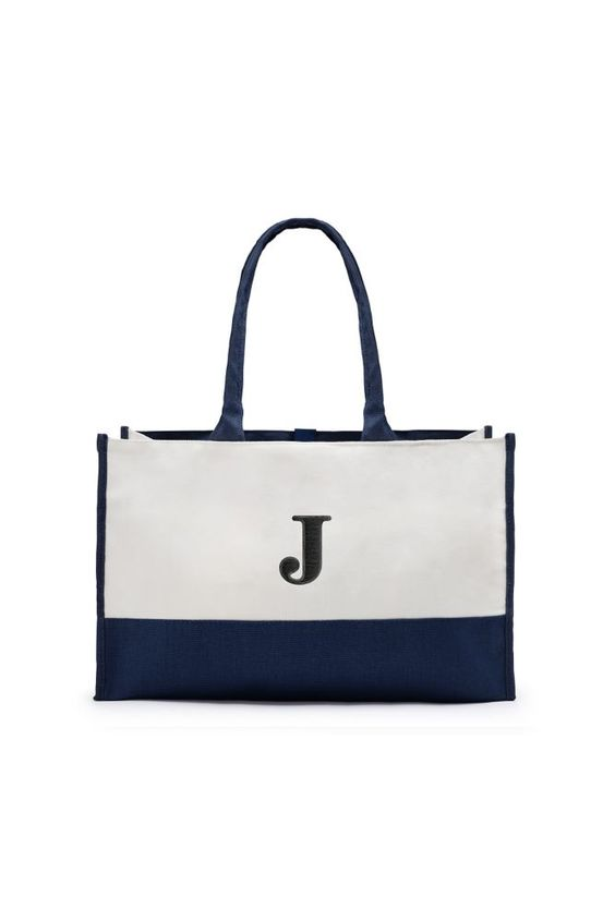 Personalized Colorblock Tote Bag - Navy (Blue)