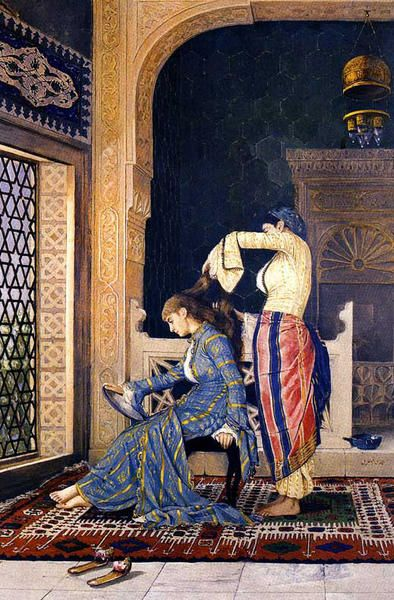 """""""Combing hair"""" by Osman Hamdi Bey. Painted by the Turkish artist in about 1900. Osman Hamdi was unusual as a native of the Ottoman Empire who had trained with western orientalist painters like Gerome. His images are a lot more conservative than the French artists and are similar to J.F. Lewis's work from half a century before."""